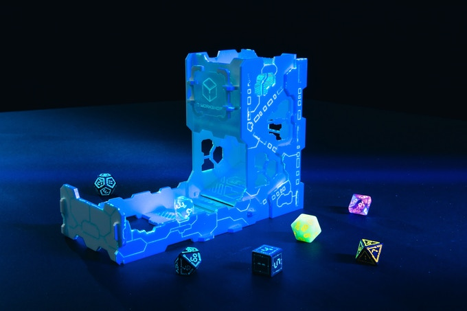 Fluorescent Dice Tower in the UV light