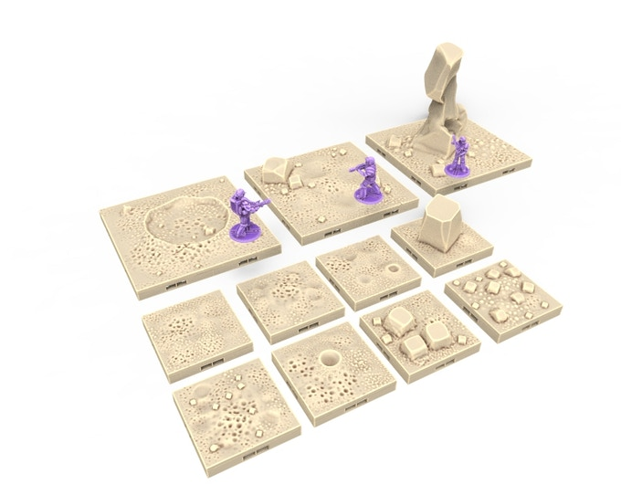 Planet Surface Tiles, Comes in Dragon Lock tiles and Scatter terrain for Tabletop.