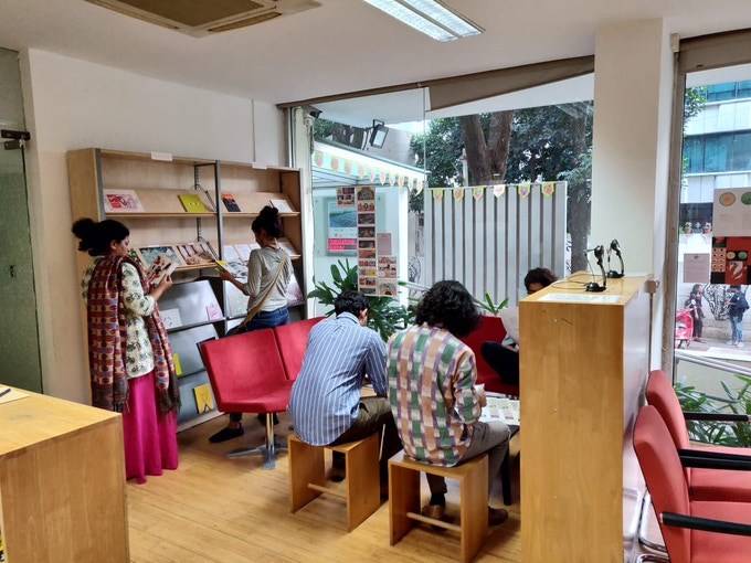 The travelling Kadak Reading Room of self authored zines, installed at Goethe Institut, Bangalore 2018.