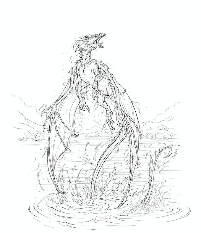 Havsdraken Kurgax stiger ur Kopparhavet, på jakt efter nästa byte,