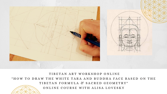 "Pledge €350 & receive: Tibetan Art Drawing Workshop ""White Tara/Buddha Face"" online with Alisa LoveSky"