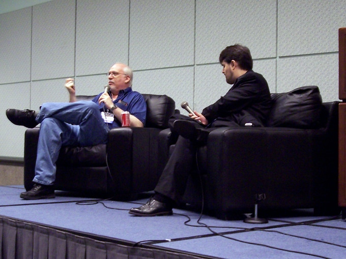 J. Michael Straczynski interviewed by Jason Davis onstage at the Screenwriting Expo in November 2008. Photo by Cynthia Davis.