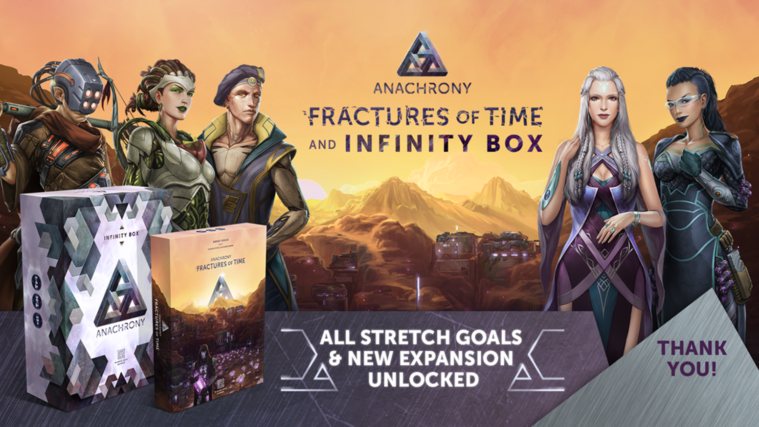 Return to the world of Anachrony and change the fate of New Earth in a new expansion and the exclusive Infinity Box!
