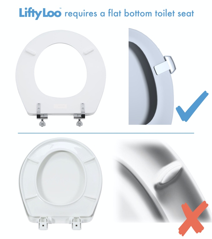 We're working on a 2.0 for curved bottomed toilet seats! But for now, it only works for toilet seats with a flat bottom.