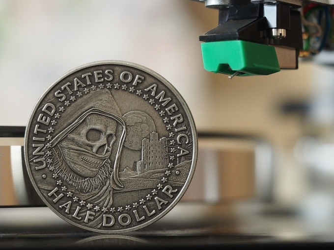 The Watchtower, back, based on the 1968 Half Dollar. Shown here in Antique Silver. Please note that all images are comps and the actual coins may vary slightly.