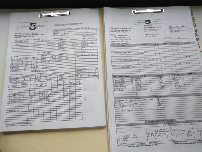 Daily production reports and call sheets tell the day-to-day story of a television production.