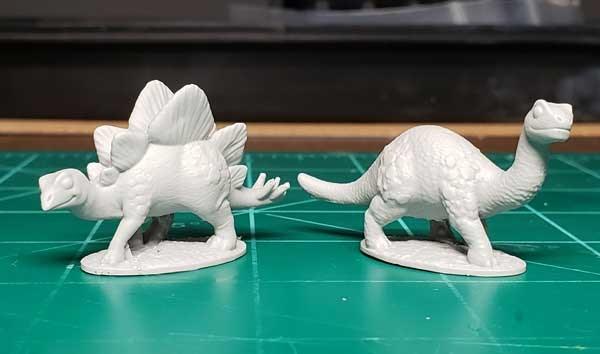 Resin castings of the Brontosaurus and Stegosaurus Sidekicks