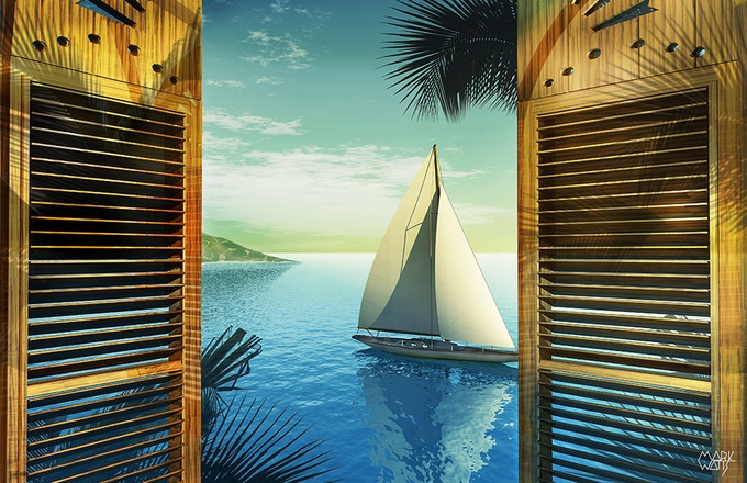 Tropical Sailboat Image that is Included in all Table-Art rewards with 2 prints