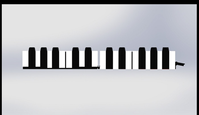[REJECTED DESIGN] If you look carefully, the black keys in this design were 3 keys, 2 keys, 2 keys then 3 keys, as opposed to the sequential 2 keys, 3 keys, 2 keys 3 keys.