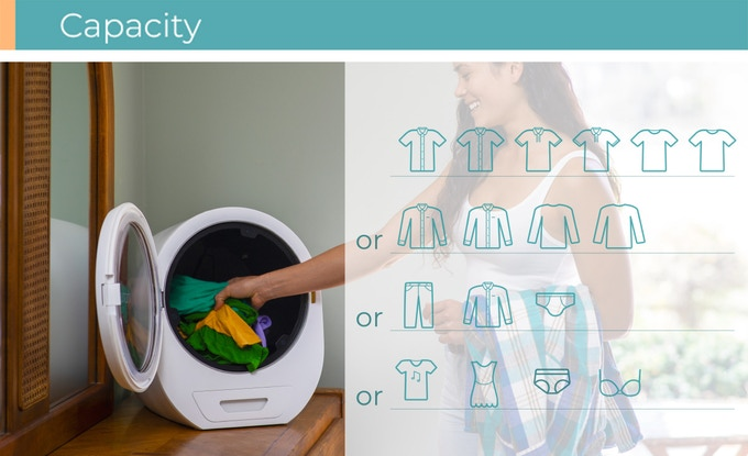 Its 3.3lb capacity is perfect for your daily change outfits.