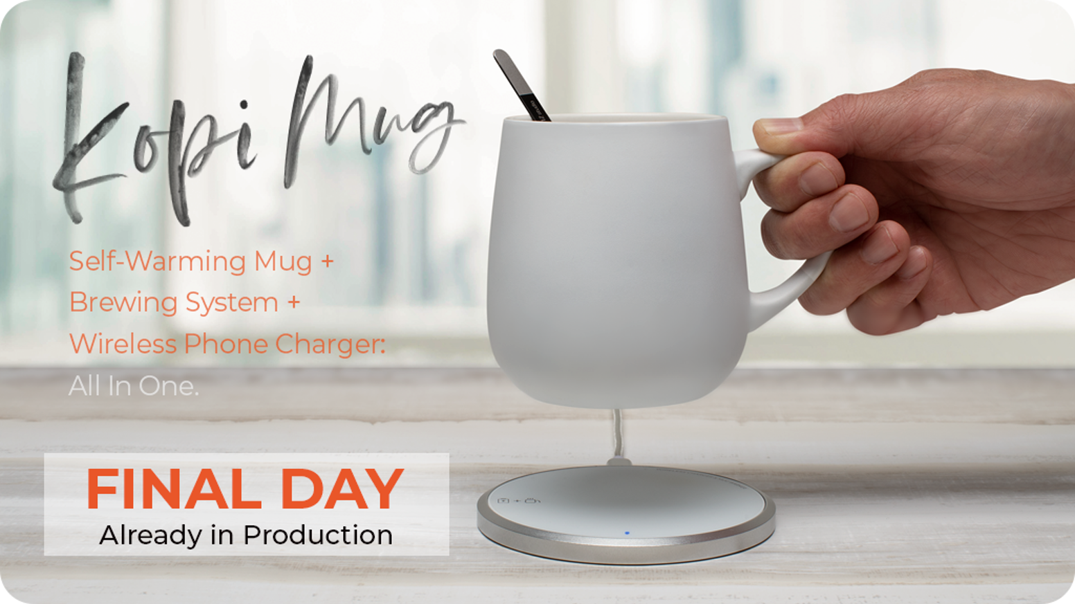 Featuring a charging base that warms your mug and wirelessly charges your cell phone, as well as a complete brewing system