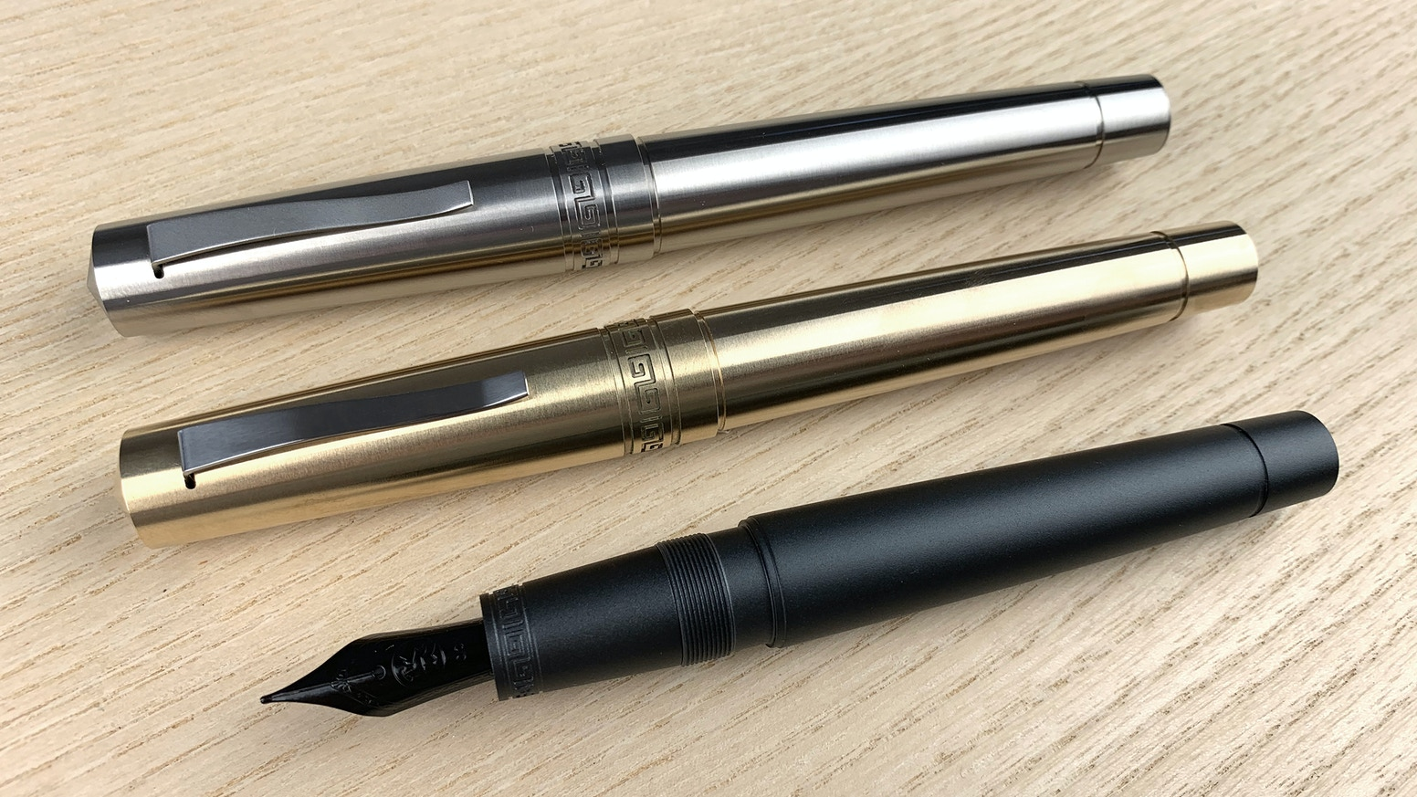 Modern Fountain Pen Inspired by Classic Italian Design. Available in Black Aluminum, Brass, and Titanium.