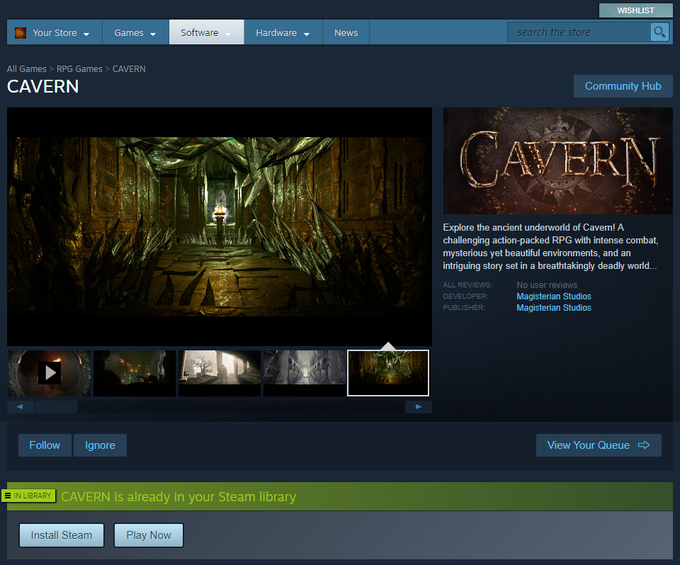 Cavern on Steam (beta mode)