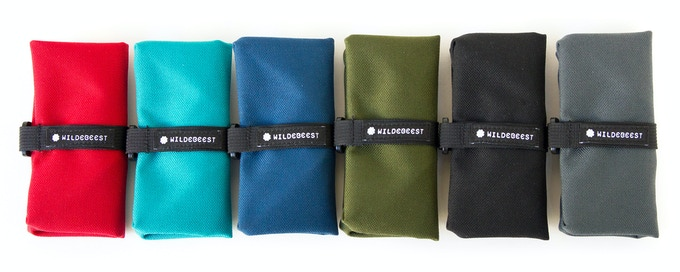 From left to right:  Red     Turquoise     Navy     Olive     Black     Charcoal