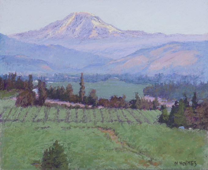 """""""Overlooking Hood River Valley and Mt. Adams"""" Original refined plein air 10""""X12""""Framed with Museum glass to 12""""X14"""" Pastel Painting on  P. 186 & P. 187, a spread in """"Land Escapes."""""""