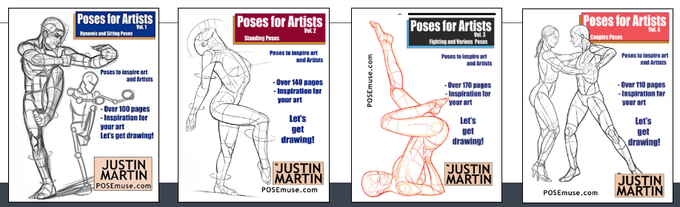 Poses For Artists Books Series - Volumes 1-4