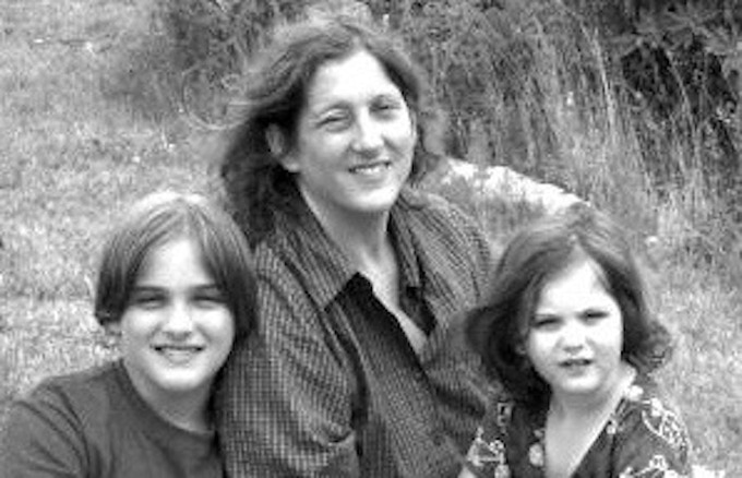 Editor Annie Finch and her children in 2000