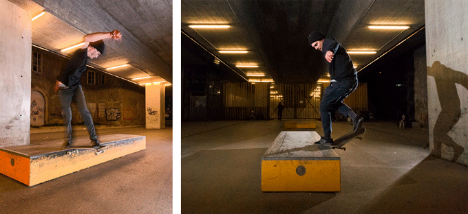 Creative control: left photo at longer exposure time (1/40s) vs. freezing the motion on the right photo (exposure time 1/800s). [iPhone XS + 2 x LIT Flash]