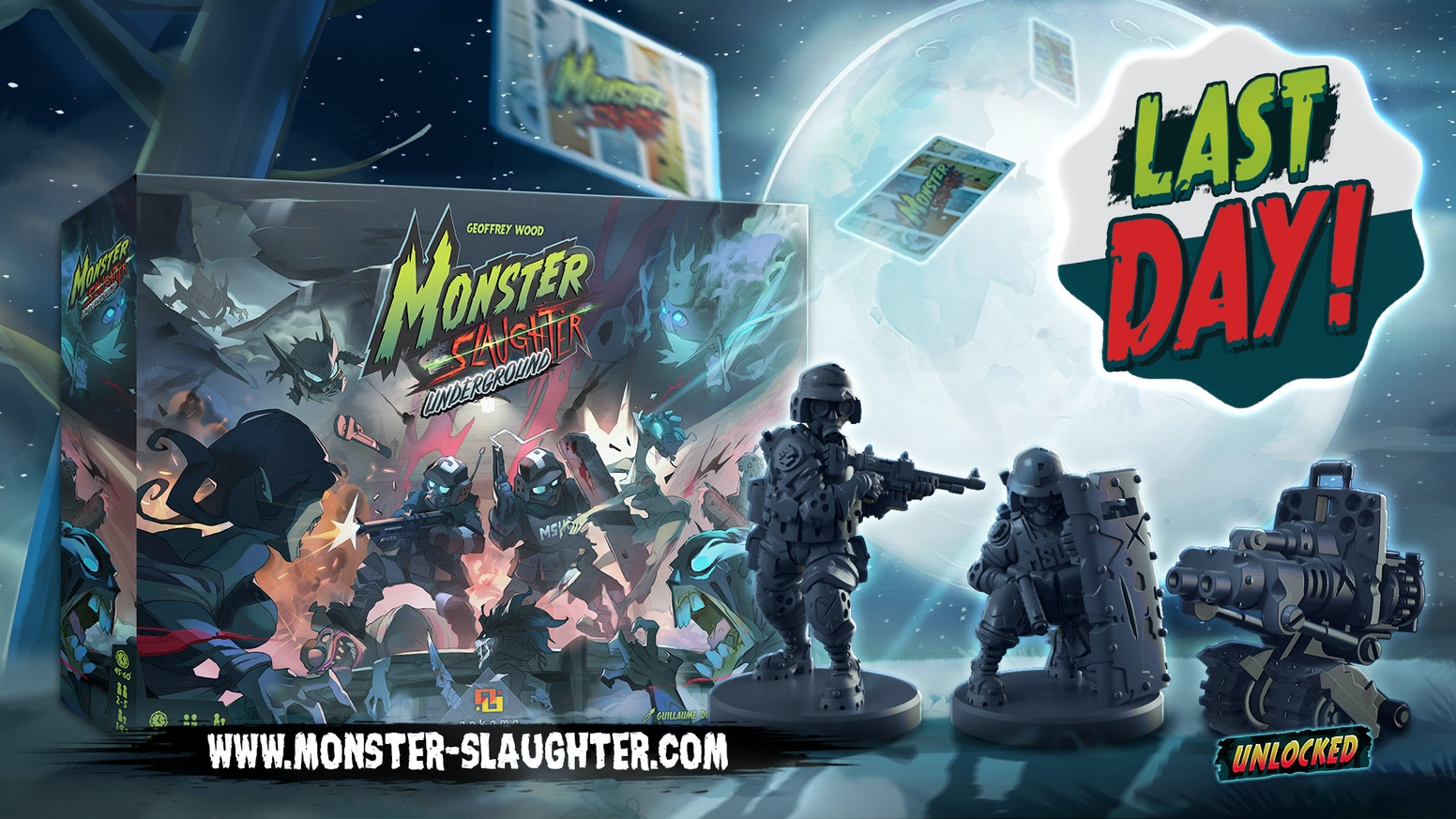 Monster Slaughter: Underground expands the original game by adding a new room to the board, new special guests and scenarios!