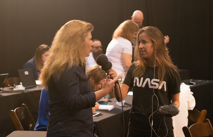MaryLiz interviewing Michelle Thaller at the NASA ICESAT-2 launch