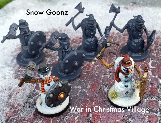 Snow Goonz Warband Set: 6 unpainted miniatures (3 of each design) Scale 28mm boot to eye.