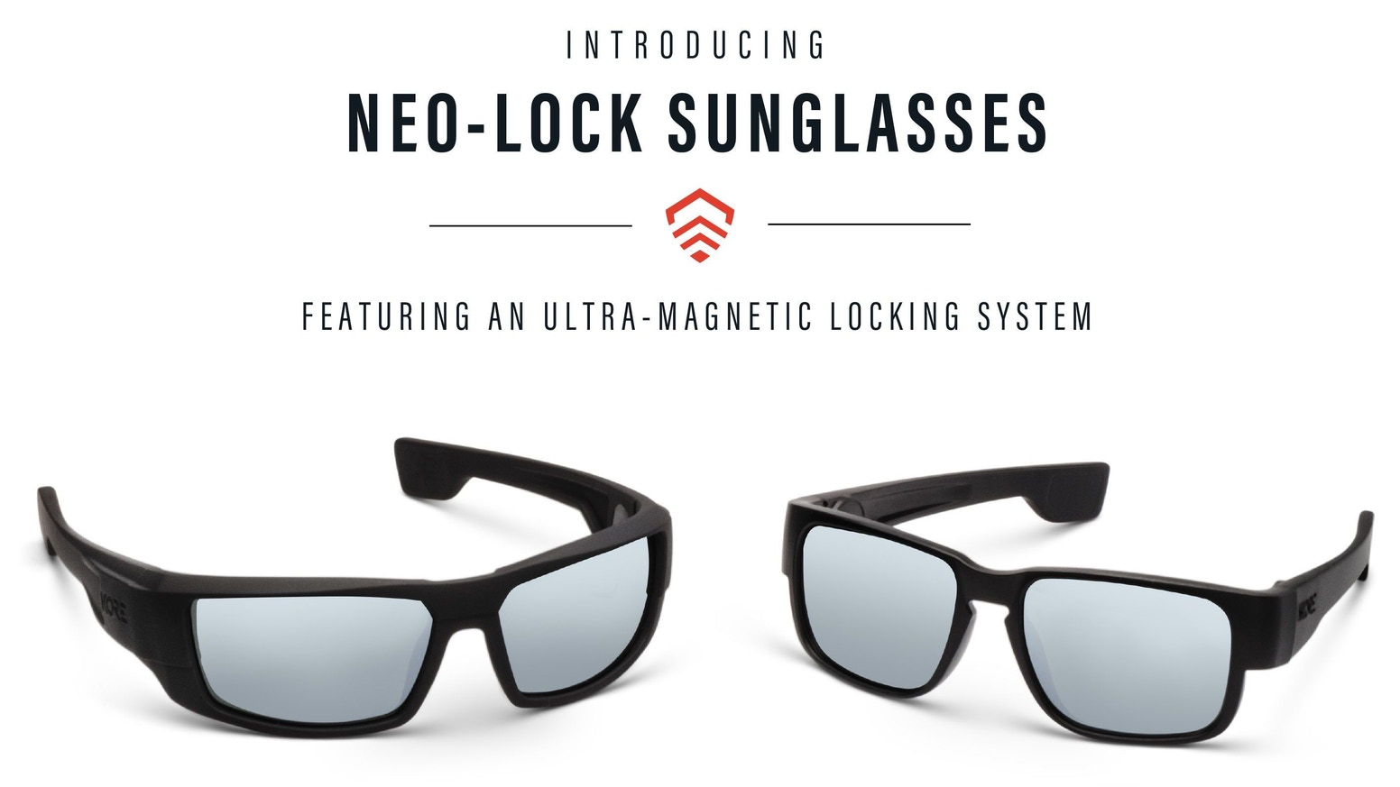 KORE Neo-Lock Sunglasses use Smart Magnets to lock your glasses in place. Never loose your glasses again.