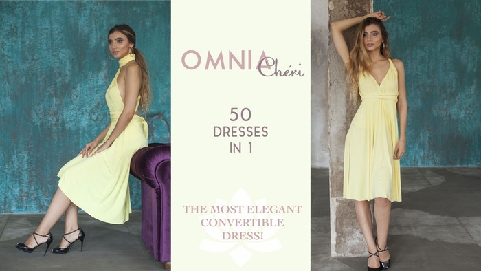 Elegant,feminine,convertible dress with 50+ styles made of 2-sided, lightweight, cupro fabric.Ideal for party,dates and bridesmaids.