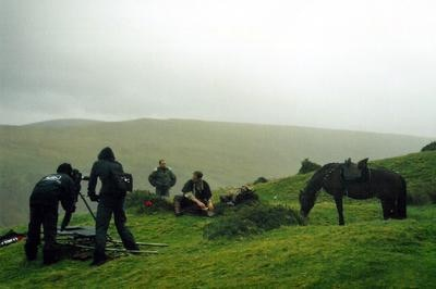 Filming the short film in the Brecon Beacons, Wales (2005)