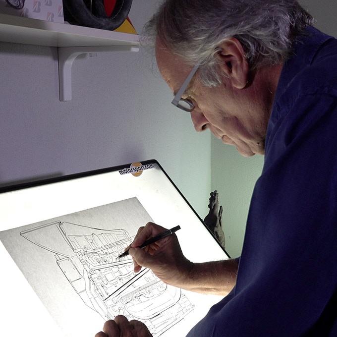 Giorgio drawing an engine