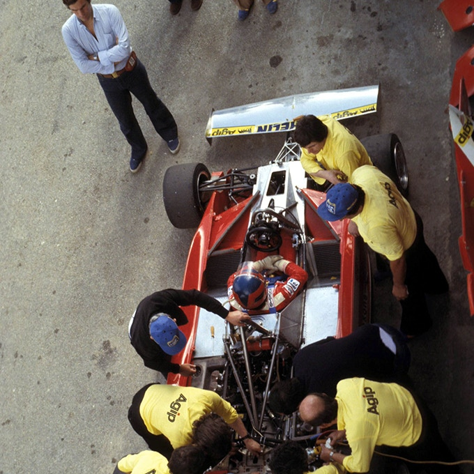 Giorgio at Ferrari's box with Gilles Villeneuve