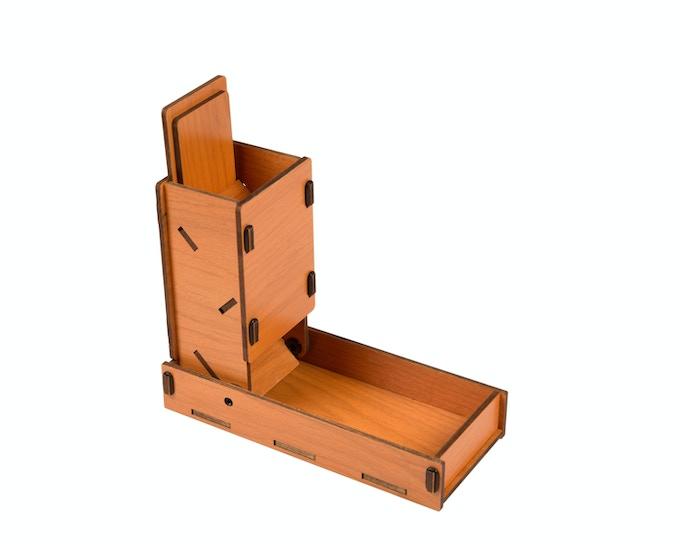 Orange Stained Alder; open profile w/lid in open position
