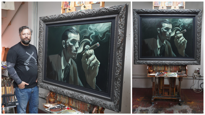"""Original Oil Painting """"Let It Roll Out"""" Featured on NOIR Book Cover"""