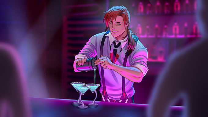 Bastian during his shift at the Black Orchid.