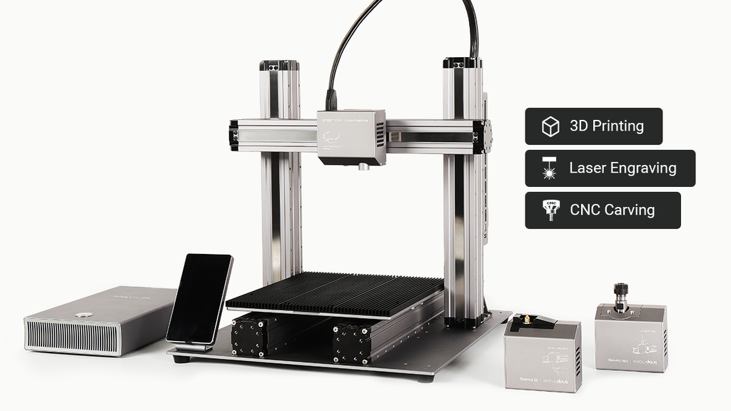 The Snapmaker 2.0 can 3D print, laser engrave, and is a CNC machine