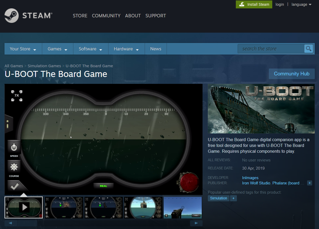 U-boot App page at Steam