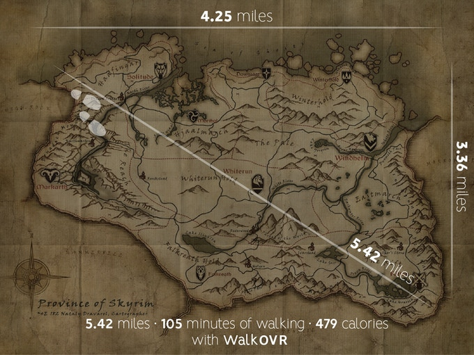 Skyrim game map with real life distances