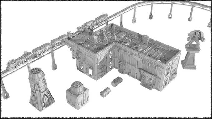 An example of various STL and plastic terrain kit parts used in combination.