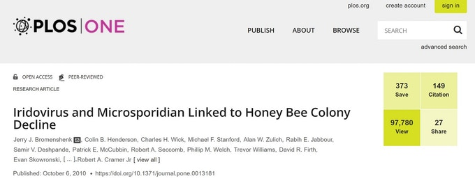 The Bee Health Guru team are part of the team of researchers in this PLoS One journal article on a link between iridovirus and microsporidian and CCD