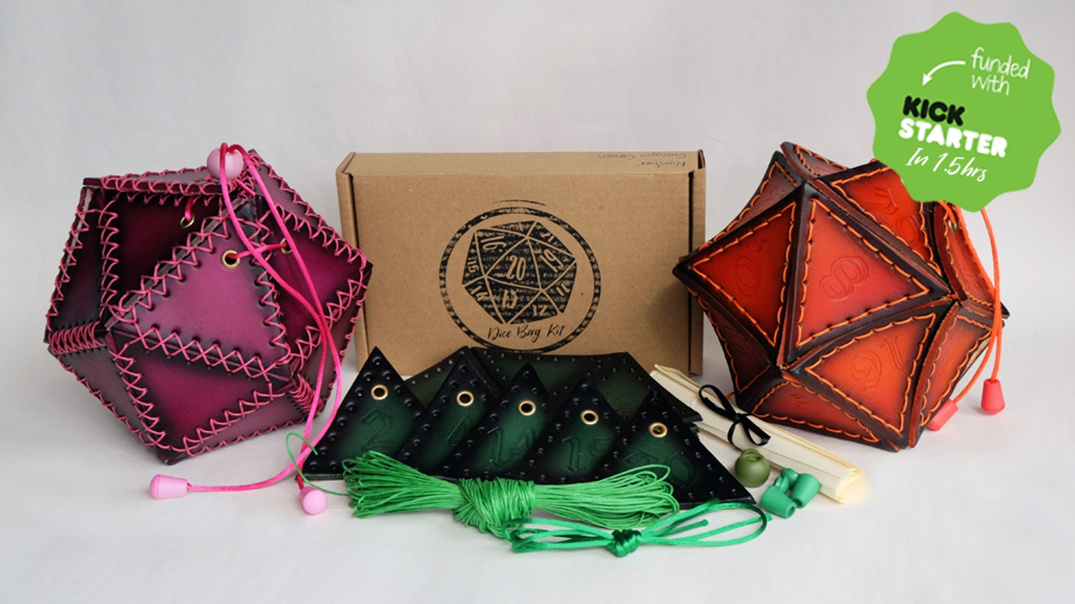Leather D20 Dice Bag Kit By Rose