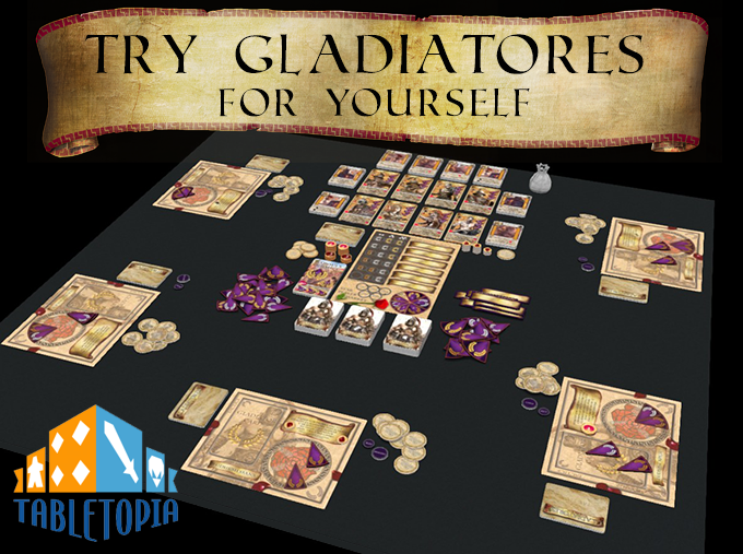 Click on the image to try Gladiatores for yourself on Tabletopia