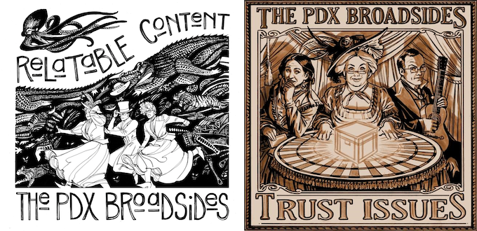 [L]: Relatable Content cover by Aud Koch. [R]: Trust Issues cover by Benjamin Dewey. Both available as art prints for this campaign!