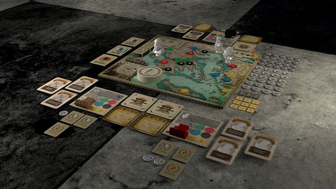 An image of the game, setup for 3 players