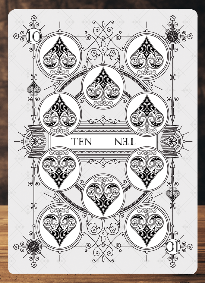 Close up image showing the number card details for the 100% custom designed Private Reserve White Decks.