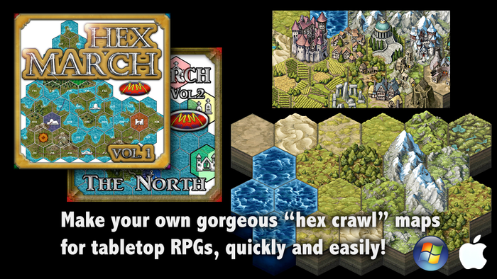 "The goal: To enable the creation of gorgeous ""hex crawl"" or West March style maps by bringing hex-tile content to MapForge."