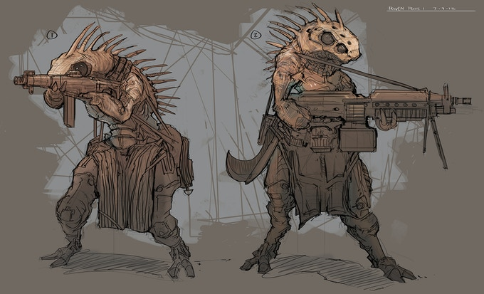 Early Ikwen Concept art with more human looking guns.