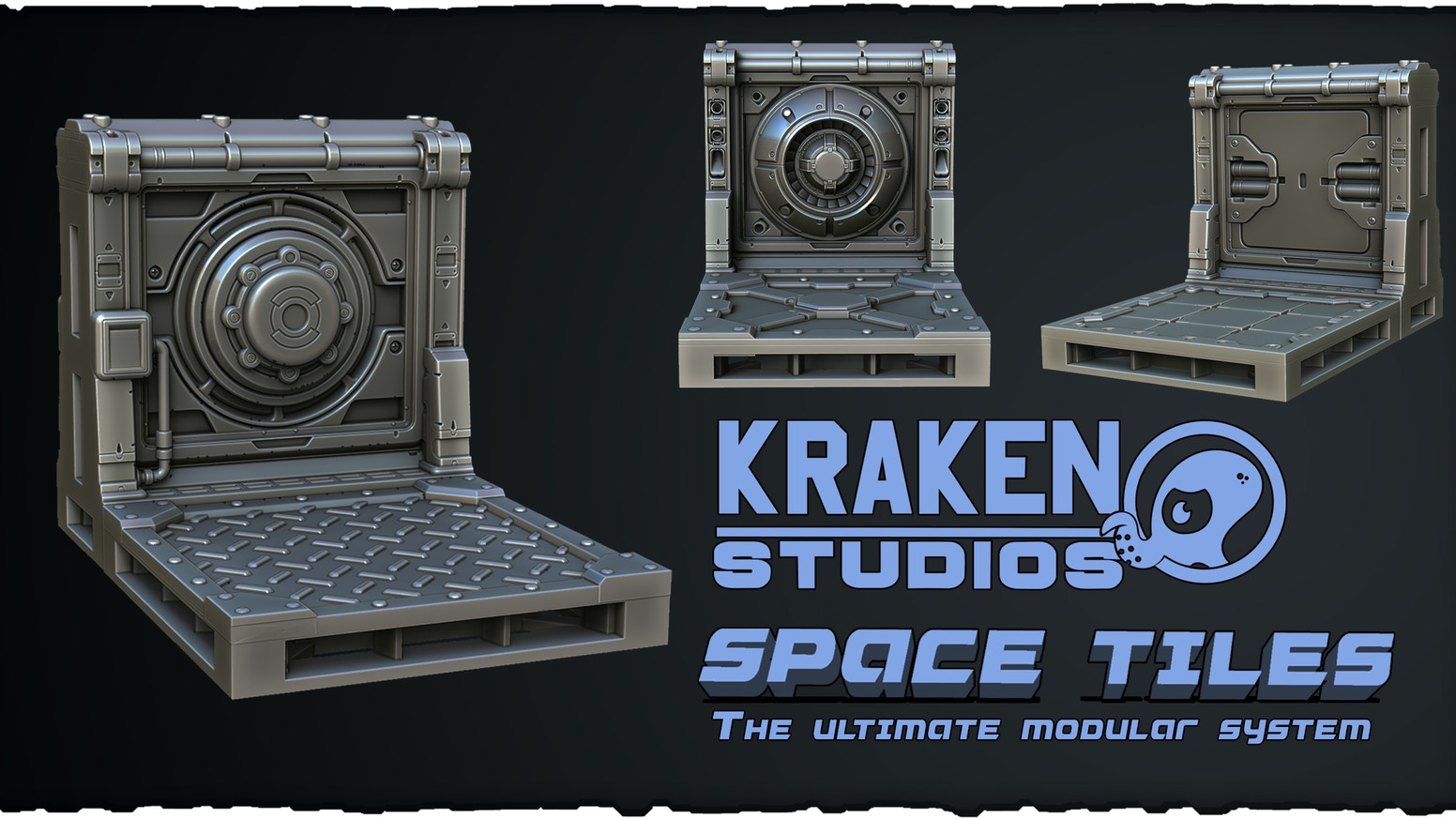 Kraken Space tiles is a Printable modular system for tabletop games,board games and wargames,3D print terrain, Printable scenery,sci-fi