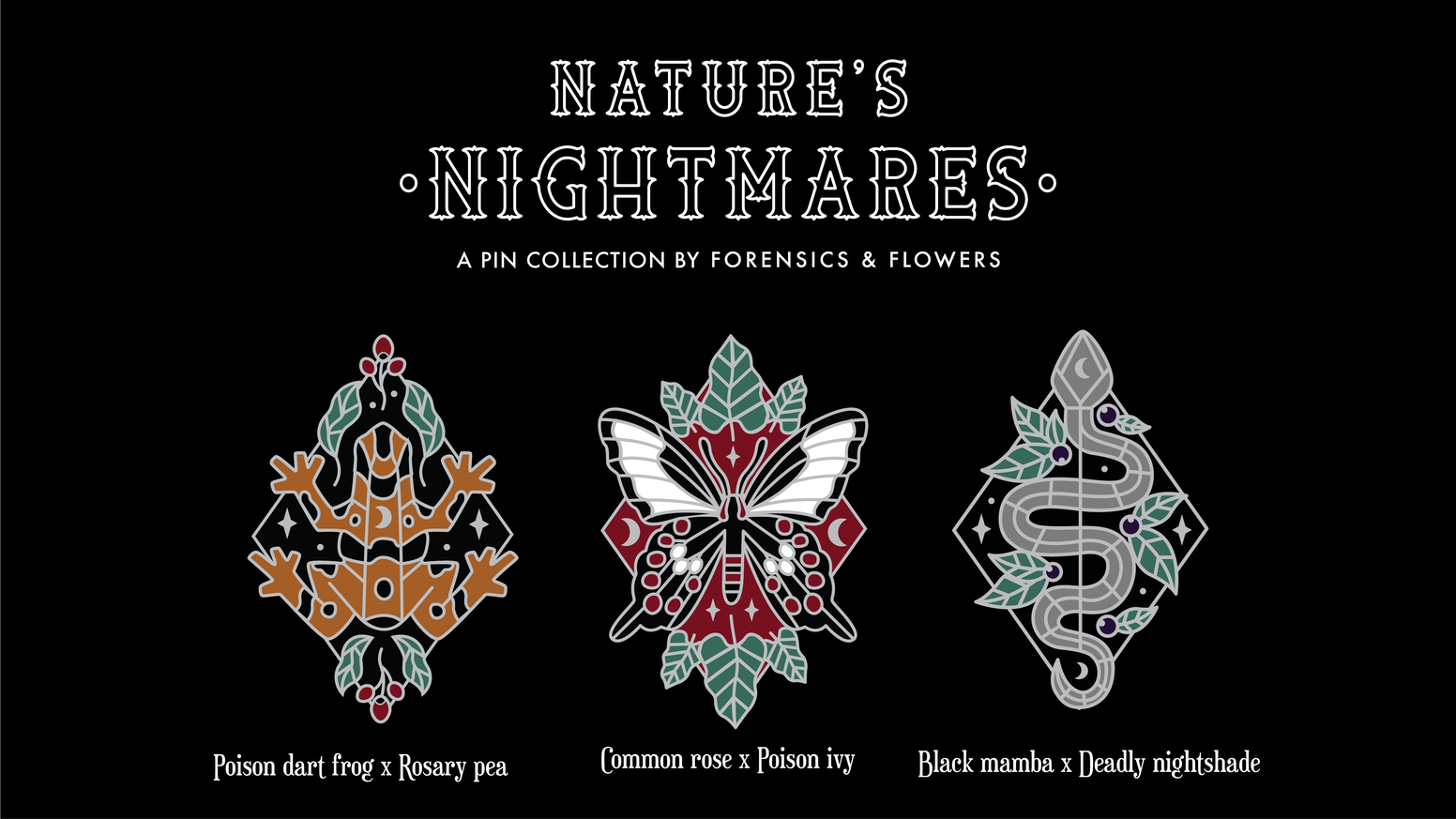 Set of 3 frightful flora and fauna enamel pins. Each pin pairs a poisonous animal with a poisonous plant in a dark magic style.