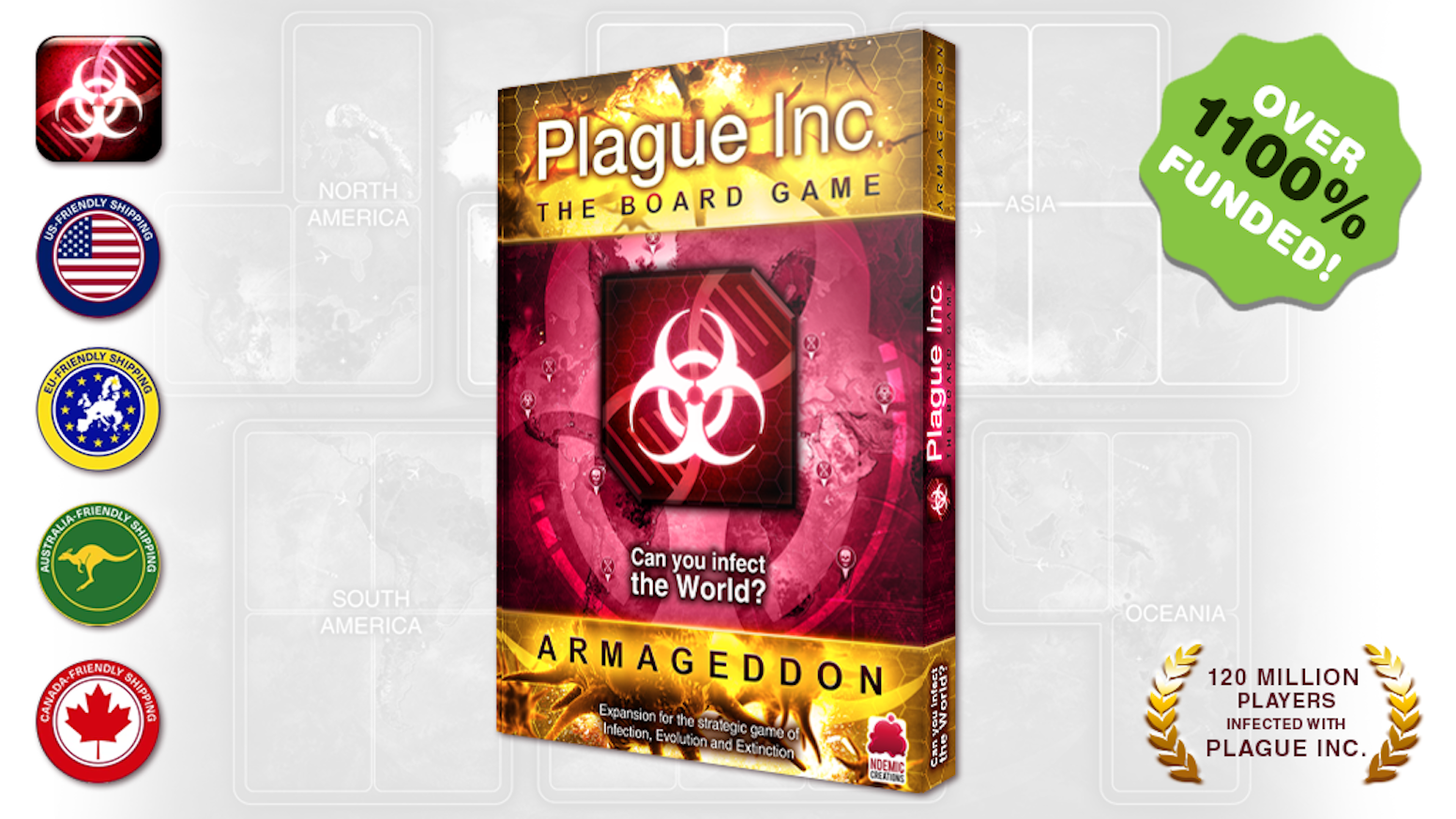 The first major expansion for Plague Inc: The Board Game is here. Armageddon adds new disease types, genetic modification and more!