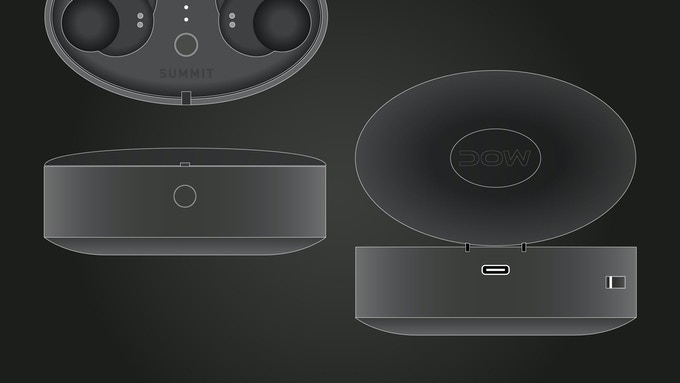 Charging Box Design showing USB-C, Strap holder and lid opening button