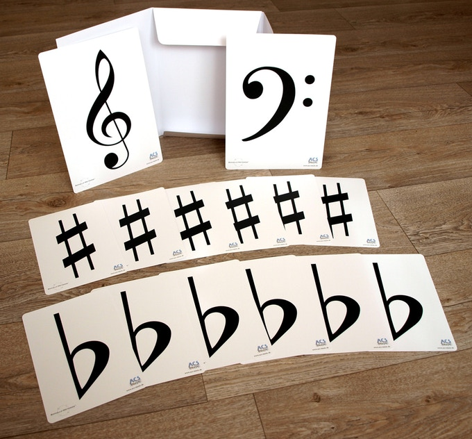 2 treble + 2 bass clefs + 12 sharps + 12 flats (printed on both sides) - so walk definite scales and chords